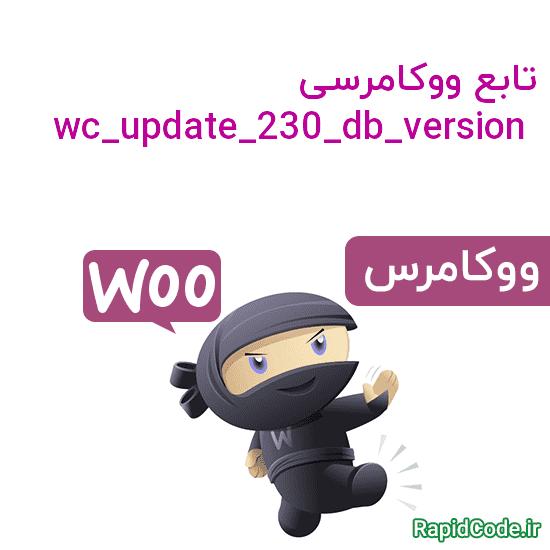 تابع wc_update_230_db_version بروزرسانی DATABASE ووکامرس به نسخه 2.3.0